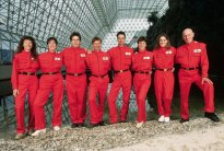 The first eight-member team of Biosphere II, before their enclosure in the artificial ecosystem.   Location: Biosphere II, Oracle, Arizona, USA.