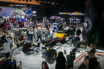 A life-size LEGO¨ Batmobile is unveiled in the Chevrolet exhibit Saturday, January 14, 2017 on opening day of the North American International Auto Show in Detroit, Michigan. The 17-foot long vehicle was inspired by BatmanÕs Speedwagon featured in ÒThe LEGO¨ Batman Movie,Ó which hits U.S. theaters on Feb. 10. (Photo by John F. Martin for Chevrolet)